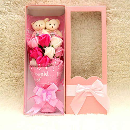 MyGiftsMate Pink Theme Christmas Decoration 9pcs Rose Soap Flower Bouquet with 2pcs Teddy Bear Wedding