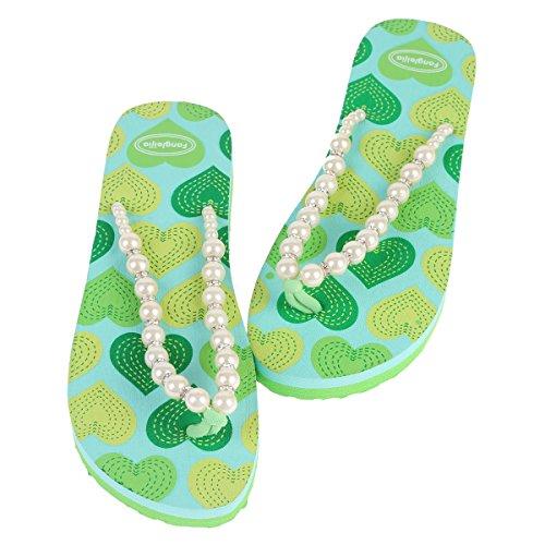 Damara Damen Verziert Perlen Schimmernd Strasssteine Herzförmig Zehentrenner Grün