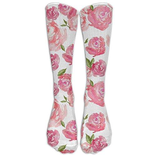 CCVOJYFGG Unisex Knee High Socks Watercolor Pink Roses(10764) 3D Print Sports Long Stockings Football Sock (Watercolor Rose Skirt Print)
