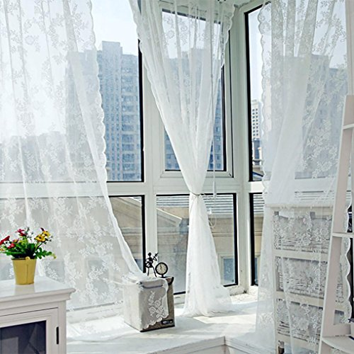 Sothread 1 PCS Warp Knitted Double Lace Sheer Tulle Door Window Curtain Drape Panel Sheer Valances (White)