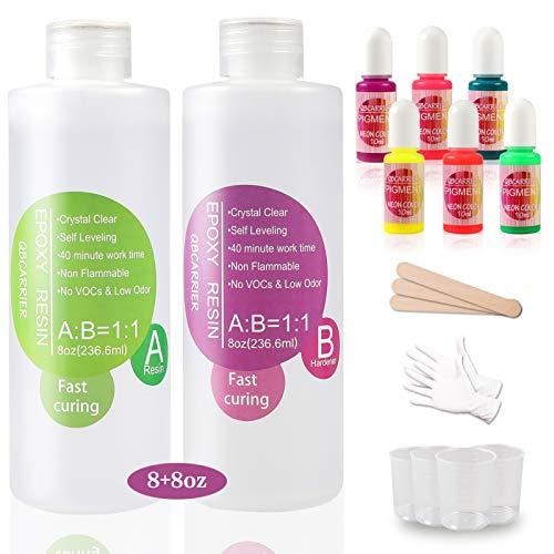 Resina epoxy kit 2 comp. 236.ml c/u +pigmentos,guantes,vasos