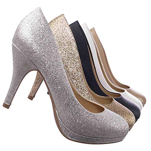 Round Toe Extra Cushioned Comfort Classic Dress Work Pumps Silver 10