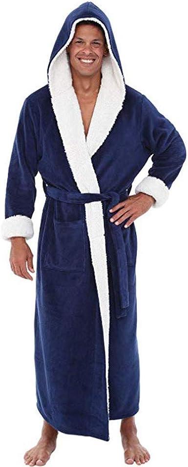 Men Maxi Bathrobe Hooded Autumn Winter Fleece Sleepwear WIth Pockets Long Sleeve