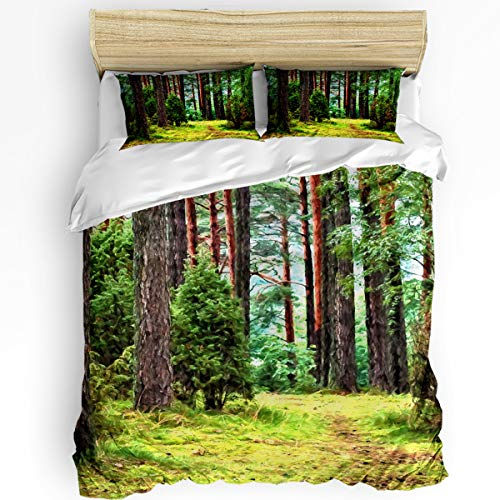 (YEHO Art Gallery Queen Size Luxury 3 Piece Duvet Cover Sets for Boys Girls,Green Forest Trunk Bedding Set,Include 1 Comforter Cover with 2 Pillow Cases)