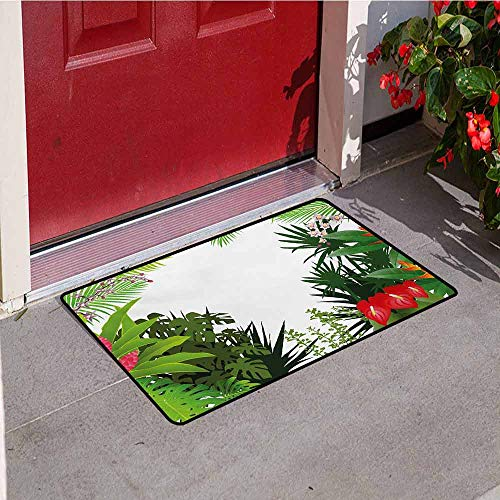 Anthurium Leaf - Leaf Inlet Outdoor Door mat Hibiscus Plumeria Crepe Gingers Anthurium Leaves Blossoms Image Catch dust Snow and mud W19.7 x L31.5 Inch Hot Pink White Red and Green