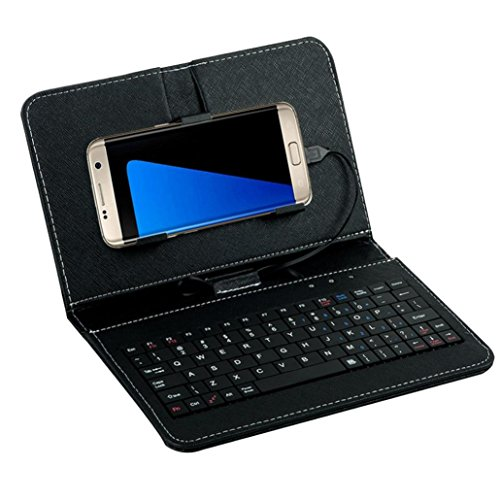 for Andriod Mobile Phone 4.2-6.8,Saingace Portable Carry General Wired Keyboard Flip Holster Case Cover (Black)