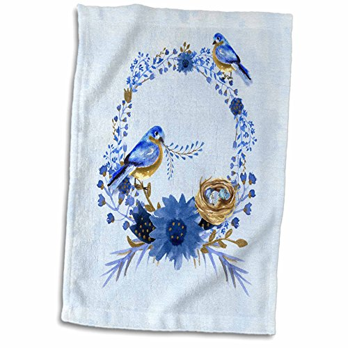 3D Rose Two Bluebirds Building a Nest on a Floral Watercolor Wreath Hand Towel, 15