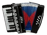 D\'Luca G104-BK-PL Kids Piano Accordion 17 Keys 8 Bass, Solid Black