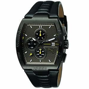 Puma Leader - Reloj cronógrafo de caballero de cuarzo con correa de acero inoxidable negra (cronómetro) - sumergible a 30 metros