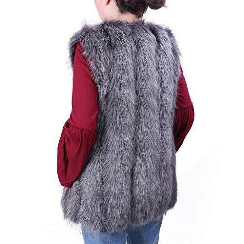mangas chaqueta de Gris largo piel Chaleco sintética Ingsist chaleco de las de mujeres chaleco sin O8zZUxawq