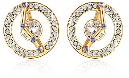Leafael Superstar Aries Zodiac Earrings Made with Swarovski Crystals Horoscope Constellation Sign Jewelry, 14K Gold Plated