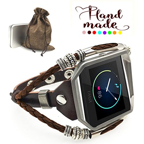Marval.P Compatible Fitbit Blaze Bands, Handmade Leather DIY Band, Replacement Bracelet Strap, Wristbands Adjustable Size, Fashion Wrist Band ()