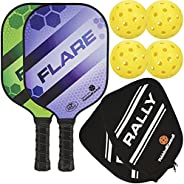 Rally Flare Graphite Pickleball Paddle   Polymer Honeycomb Core, Graphite Face   Lightweight   Paddle Cover In