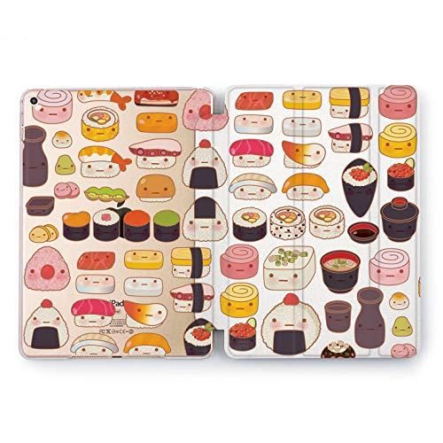 (Wonder Wild Cute Sushi Set Food Apple New iPad Case 9.7 inch Mini 1 2 3 4 Air 2 10.5 12.9 2018 2017 Cover Seafood Pattern Texture Plastic Print Watercolor)