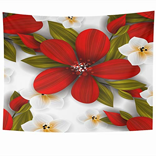 Ahawoso Tapestry 90 x 60 Inches Poinsettia Tropical Flower Blossom Cluster Hawaii Nature Green Retro Vintage Aloha Design Butterfly Wall Hanging Home Decor Tapestries for Living Room Bedroom Dorm