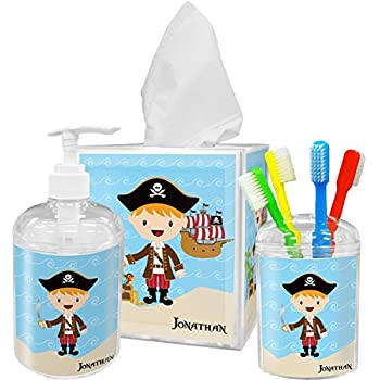 RNK Shops Pirate Scene Bathroom Accessories Set (Personalized)