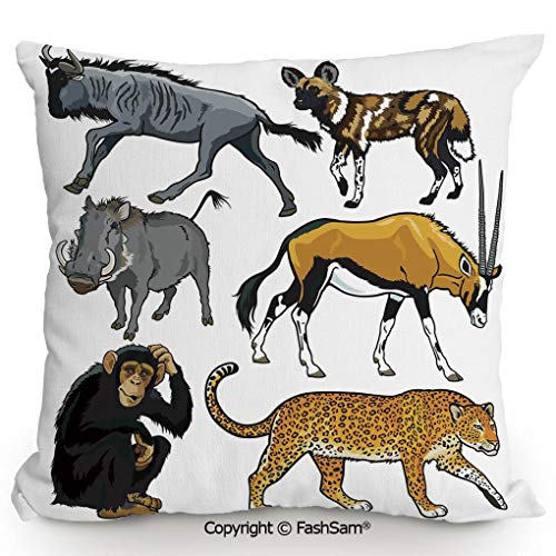 Throw Pillow Covers Collection of Cartoon Style Wild Animals of Africa Fauna Habitat Savannah Wilderness Decorative for Couch Sofa Home Decor(16