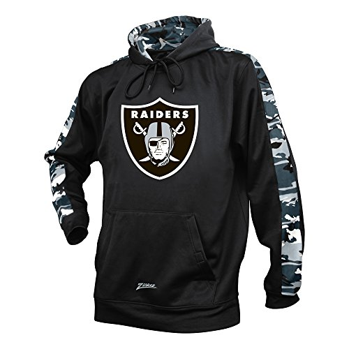 NFL Oakland Raiders Men's Zubaz Camo Print Accent Team Logo Synthetic Hoodie, Small, Black - Oakland Raider Hoody Sweatshirt