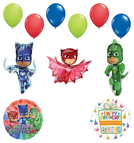 Mayflower Products PJ Masks Birthday Party Supplies Catboy, Owlette and Gekko Balloon Decorations ()