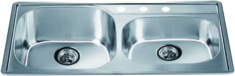 Dawn CH355 Top Mount Double Bowl Sink with 3 Holes, Polished Satin