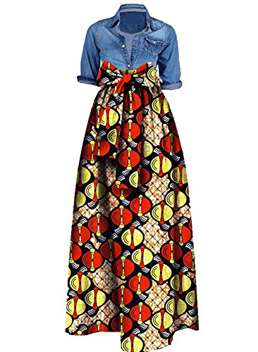Huiyuzhi Womens African Print Dashiki Dress Long Maxi A Line Skirt Ball Gown, Orange, Medium