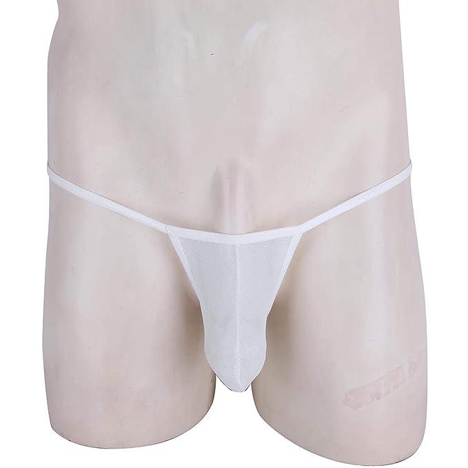 iiniim Tanga Slip Hombre Ropa Interior Transparente Briefs Elástico Calzoncillo Suave para Hombres Blanco One Size