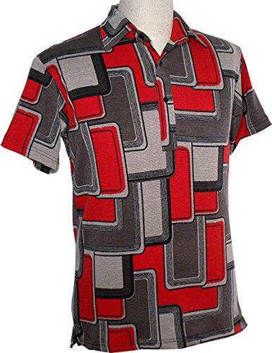 70er Jahre Polo shirt Squares grey red, Chenaski