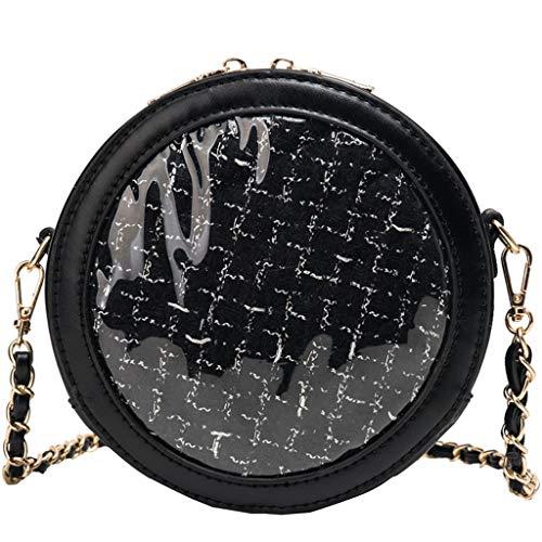 HunYUN Women's Fashion Trend Handbag Circular Jelly Transparent Bag Package Woven Messenger Bag Black