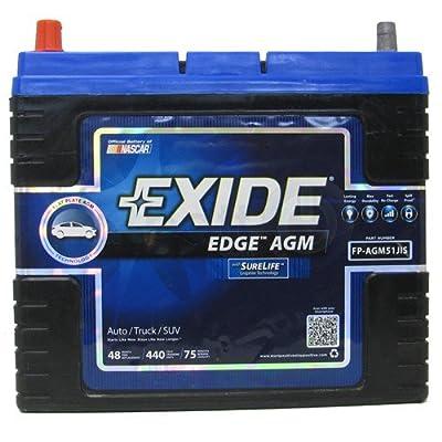 Exide Edge FP-AGM51JIS Flat Plate AGM Sealed Automotive Battery