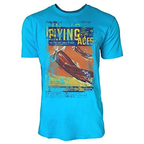SINUS ART® Flying Aces Herren T-Shirts in Karibik blau Cooles Fun Shirt mit tollen Aufdruck