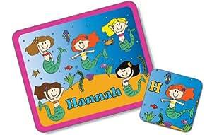 Sirena manteles individuales y posavasos, manteles mamamemo, manteles globalpowder, regalos personalizados para niñas