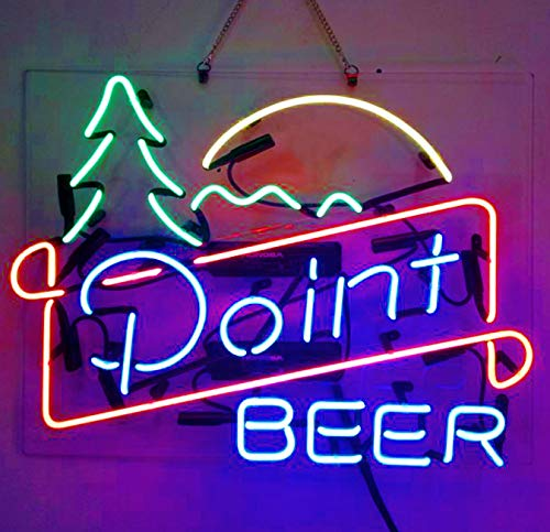 Point Beer Real Glass Beer Bar Pub Store Party Room Wall Windows Display Neon Signs 19x15
