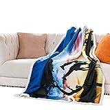 Fassbel Sherpa Throw Blanket Digital Printing Reversible Super Soft Lightweight Blanket Warm Microfiber All Season Blanket for Bed or Couch(50''x60'', Dusk)