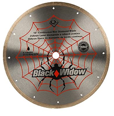 QEP 6-1008BW 10-Inch Black Widow Micro-Segmented Rim Diamond Blade, 5/8-Inch Arbor, Wet Cutting, 6115 Maximum RPM from QEP