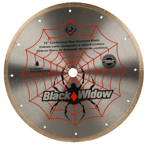 QEP 6-1008BW 10-Inch Black Widow Micro-Segmented Rim Diamond Blade, 5/8-Inch Arbor, Wet Cutting, 6115 Maximum RPM (0.5' Wobble)
