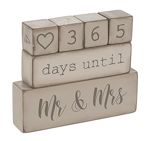 Ganz ER49764 6 Piece Wooden Block Wedding Day Countdown Calendar, Rustic