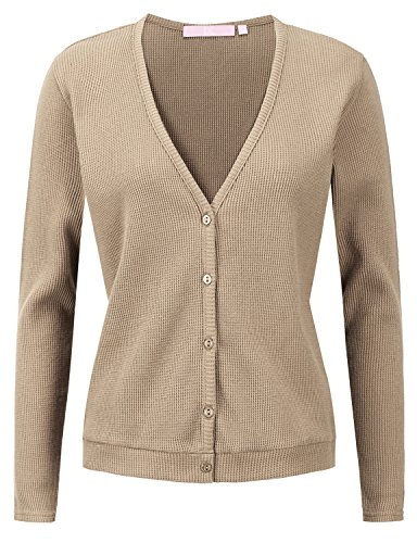 Regna X Women's Cropped Cardigan V-Neck Button Down Knitted Sweater 3/4 Sleeve (V-neck 3/4 Sleeve Cardigan)