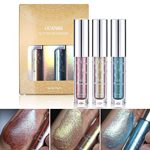 Glitter & Glow Liquid Eyeshadow Set 3D Shimmer Metaliic Waterproof Creamy Eye Gloss Makeup Kit (Set 2:04# 05# 07#)