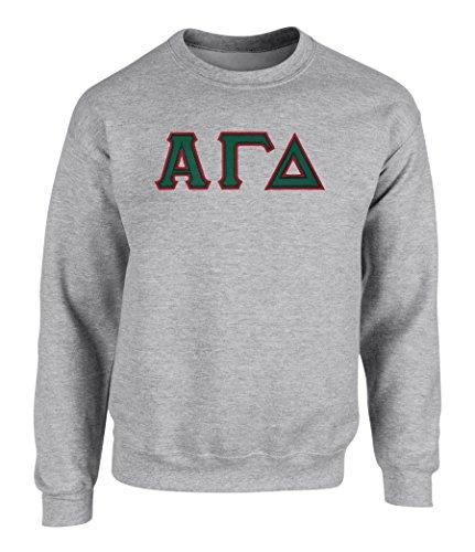 Alpha Gamma Delta Twill Letter Crewneck Sweatshirt Spt Grey Large
