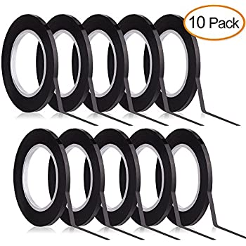 Kuuqa Black Whiteboard Tape 3mm width Graphic Tape Charts Tapes Gridding Marking Tape Self Adhesive, 10 Rolls