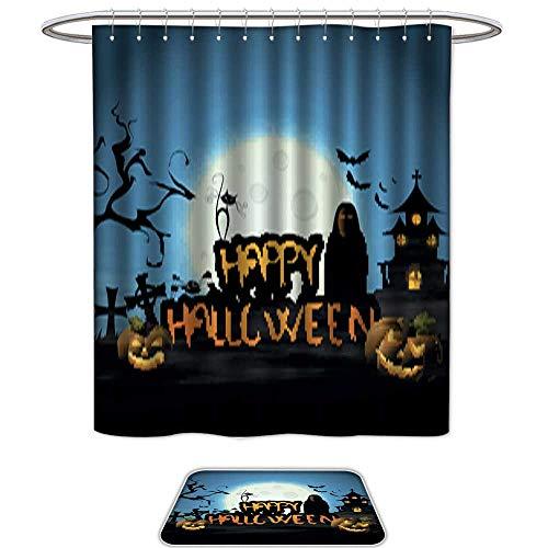 QianHe Set of 2,Shower CurtainHappy Halloween Design -