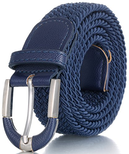Marino Braided Stretch Belt - Fabric Woven Belt - Casual Weave Elastic Belt for Men and Women - PU Leather Loop and End Tip - Navy - (Men Fabric Belt)