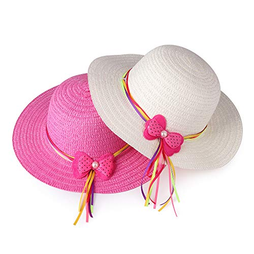 Girls Bow Straw Tea Party Hat Set (7 Pcs, Assorted Colors) - http://coolthings.us
