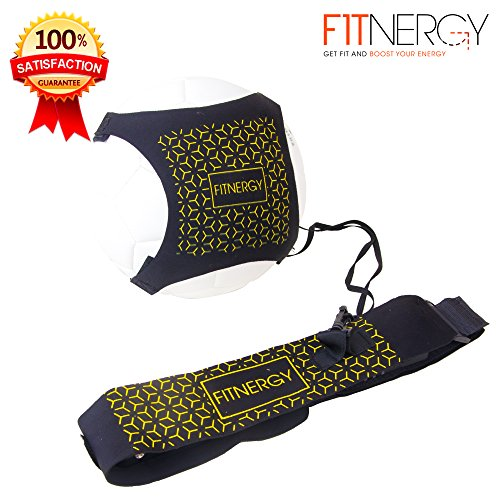 SOCCER Kick Ball Hands Free Solo TRAINER by F1TNERGY - Adjustable Waist Belt Fits Ball Size 3,4 & 5 - Throw Football Practice Training Skills - Rebounder Belt Keepers Kid Youth Soccer Socks Ball Goal