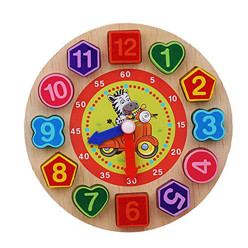 CHoppyWAVE Toys for Boys Girl Toddler Wooden Colorful 12 Numbers Clock Toy Digital Geometry Cognitive Kids Puzzles - Zebra ()