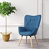 LSSBOUGHT Stylish Fabric Accent Chair Modern Muted Fabric Arm Chair,Blue