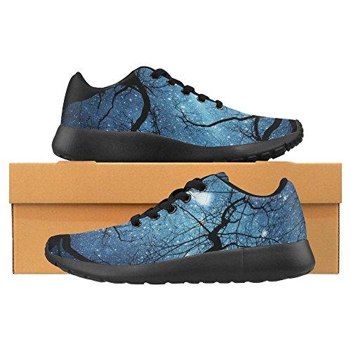 Interestprint Mujeres Jogging Running Sneaker Ligero Go Easy Walking Comodidad Casual Zapatillas Beautiful Night Sky Meteor Y Trees Multi 1