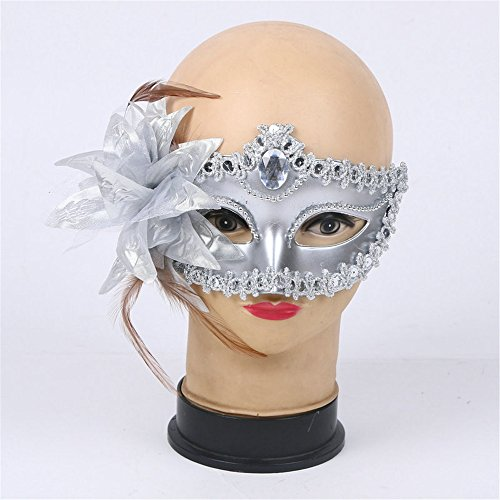 Eye Mask Sexy Girl Lace Fancy Dress Decoration Masks for Masquerades Halloween Costume Parties Carnivals Mardi Gras Masquerade Party Pretend Play Gift - Silver