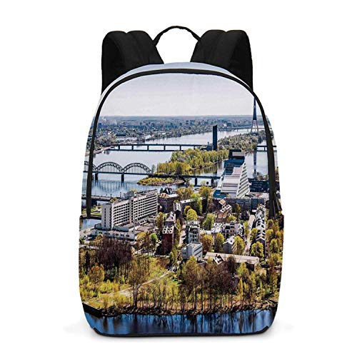 Cityscape Durable Backpack,Aerial View of Riga City European Cultural Urban Mod Print Horizon with Old Tower Decorative for School Travel,One_Size