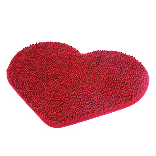 (MAYSHINE Non-Slip Bathroom Rug Love Shaped Shag Shower Mat Machine-Washable Bath Mats Lovely Heart with Water Absorbent Soft Microfibers (20X24 inch Red))